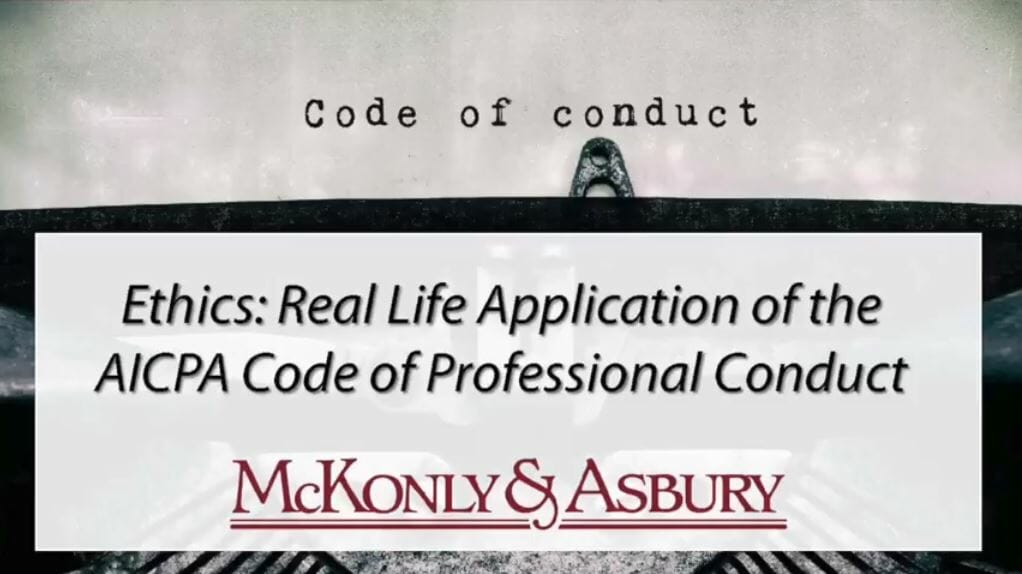 Ethics: Real Life Application of the AICPA Code of Professional